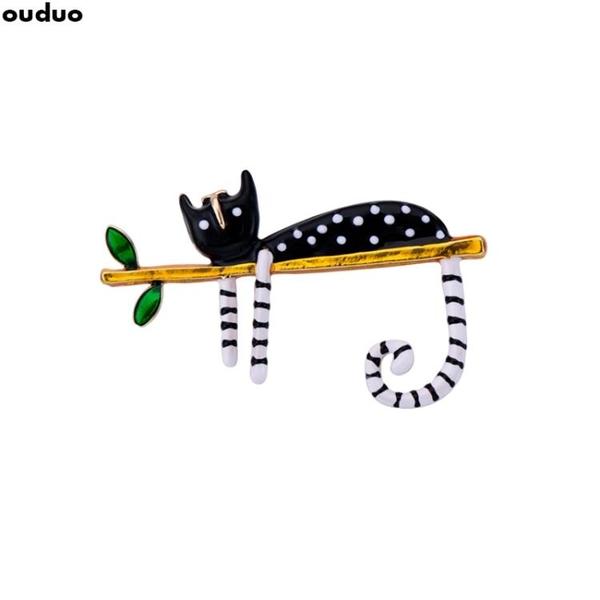 可愛慵懶波點小貓胸針 韓卡通貓咪別針扣情侶款胸花學生徽章 FF4640【美好時光】