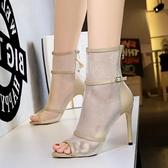 紓困振興  短靴春款魚嘴蕾絲鏤空高跟網紗馬丁靴春季薄款女夏季涼鞋透氣 居樂坊生活館