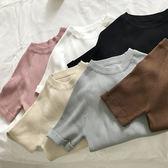 洋裝 女裝正韓純色基礎款針織衫修身短袖簡約T恤上衣打底衫學生潮 萬聖節