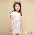 Azio 女童 洋裝 滿版藍色小花假兩件短袖洋裝(粉) Azio Kids 美國派 童裝