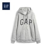 Gap男裝LOGO徽標加絨內裏連帽衫489872-麻灰色