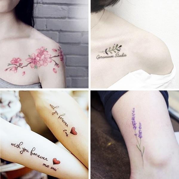紋身貼 紋身貼防潑水 女 英文花卉鎖骨防真逼真紋身貼紙 花臂身體彩繪遮痕