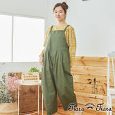 【Tiara Tiara】百貨同步 雙口袋拼接素面吊帶褲(綠/黑)