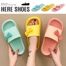 [Here Shoes]2cm拖鞋 卡哇伊少女馬卡龍色系蝴蝶結 防水防雨平底圓頭涼拖鞋 海灘鞋-AG308-8
