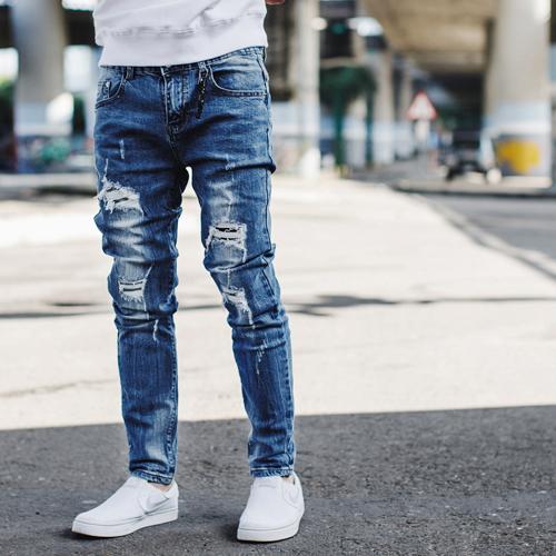 牛仔褲 韓國製刷破抽鬚補丁合身彈性牛仔褲【NB0647J】