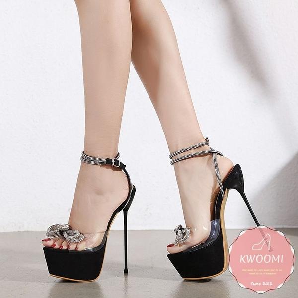 高跟涼鞋 訂製款水鑽蝴蝶結碎鑽滾邊細跟奢華 高跟鞋 晚宴鞋 新娘鞋#*KWOOMI-A31