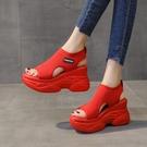 增高涼鞋 羅馬涼鞋女厚底新款夏季厚底楔形老爹百搭魚嘴內增高運動-Ballet朵朵