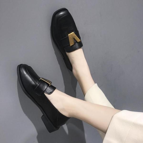 豆豆鞋英倫風復古樂福鞋女低粗跟懶人豆豆鞋原宿風方頭小皮鞋單鞋子新年禮物