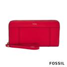FOSSIL JORI 手環帶RFID拉鍊式長夾-紅色 SWL2273646