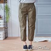 【Tiara Tiara】純棉微縮口裸踝工作褲(卡其/黑)