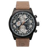 POLICE 時空戰區三眼腕錶-棕褐色x槍色