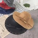 日系大檐毛呢禮帽鉚釘復古百搭英倫遮陽帽【聚寶屋】