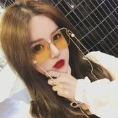 墨鏡女2019復古網紅珍珠鍊條眼鏡鍊裝飾拍照墨鏡女同款百搭太陽眼鏡聖誕交換禮物