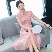 改良旗袍夏季新款女中國風高貴氣質顯瘦媽媽旗袍連衣裙中長款  草莓妞妞