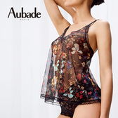 Aubade春宴M網紗印花短上衣(黑)PA38
