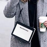 ■現貨在台■專櫃77折■Balenciaga 339937 經典帆布系列小款皮革飾邊多層斜背包