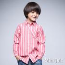 簡約直條紋、排釦長袖襯衫