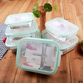 長方形帶3分隔玻璃飯盒 微波爐保鮮盒帶隔層2分格便當密封碗 萬客城