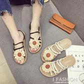 拖鞋女夏外穿2018新款韓版百搭兩穿平底可愛涼拖鞋復古海邊沙灘鞋·Ifashion
