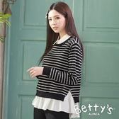 betty's貝蒂思 圓領橫條兩件式針織上衣(黑色)