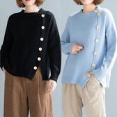 親膚軟綿綿釦子造型針織毛衣-中大尺碼 獨具衣格 J2418