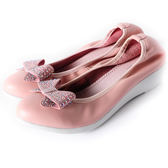 Clay Derman   俏麗蝴蝶結綴鑽楔型鞋 -粉