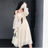 長袖洋裝小心機顯瘦女夏季新款長袖波點雪紡很仙的法國小眾連身裙子女新年禮物