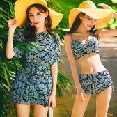 梨卡 - 高品質大品牌[爆乳深V+有鋼圈]高腰印花小碎花罩衫連身裙式三件式泳衣比基尼CR309