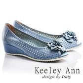 ★2017春夏★Keeley Ann法式浪漫~捲捲花朵圓點鏤空透氣真皮楔形魚口鞋(藍色)