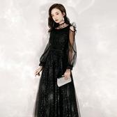 婚紗禮服 晚禮服裙黑色2020夏季新款氣場女王宴會高貴氣質長款顯瘦夏季長袖