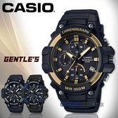 CASIO手錶專賣店 國隆 MCW-110H-9A 三眼計時碼錶 樹脂錶帶 黑X金錶面 防水100米 碼錶功能 MCW-110H