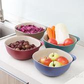 水果盤 塑料雙層瀝水籃洗菜盆 家用客廳水果盤水果盆廚房洗菜籃子