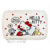 〔小禮堂〕Hello Kitty 圓角毛毯法蘭絨毯《米白.紅點》單人毯..2018溫暖禦冬系列 4901610-86211