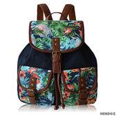 帆布包-HENDOZ.熱帶雨林帆布印花後背包(藍色)11982