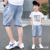 男童褲子夏七分褲薄款中大童牛仔短褲寶寶中褲小男孩五分褲寬鬆