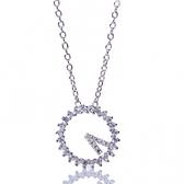 925純銀項鍊-時鐘造型必備女鑲鑽吊墜銀飾73y31【巴黎精品】