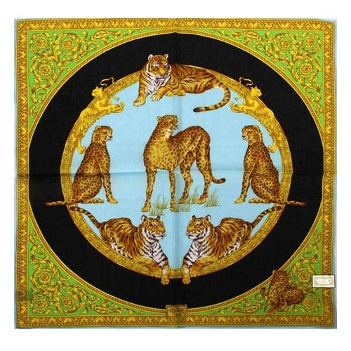 VERSACE 凡賽斯 古典藝術華麗猛獸領帕巾(藍底黑圈色)989017-24