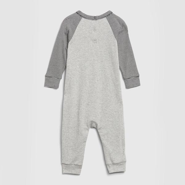 Gap嬰兒 Gap x Disney 迪士尼印花圓領一體式包屁衣 622896-灰色