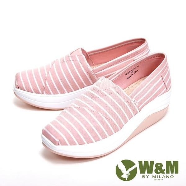 【南紡購物中心】W&M BOUNCE系列 超彈力條紋增高鞋 女鞋-淺粉(另有灰)