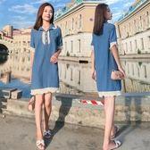 中大尺碼L-4XL原宿風中長款短袖連身裙26271大碼女裝胖mm新款遮肚子連衣裙減齡夏胖妹妹藏肉仙女裙