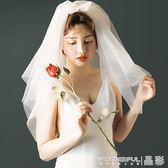 新娘頭紗 頭紗旅拍寫真結婚旅行小白紗頭飾新娘造型頭紗 晶彩生活