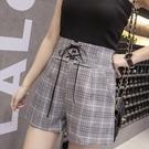 找到自己 G5 韓國時尚 格子 繫帶 短褲 女褲 舒適 百搭