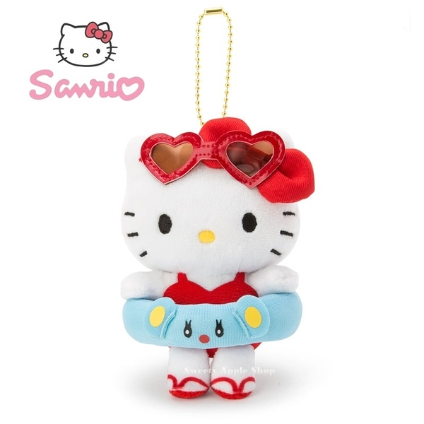日本限定 三麗鷗 HELLO KITTY  凱蒂貓  夏季泳圈版 珠鍊吊飾玩偶娃娃