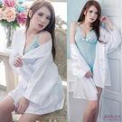 睡袍 溫泉日式浴衣 緞面不透明白色睡衣-愛衣朵拉