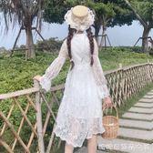 春季女裝韓版氣質修身顯瘦仙女裙刺繡長袖蕾絲裙洋裝打底裙長裙 糖糖日系森女屋