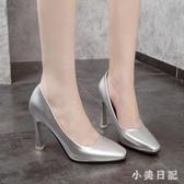 夏季潮流新款 馬蹄跟方頭高跟鞋 細跟淺口漆皮單鞋 aj8283『小美日記』