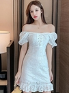 一字領洋裝 裙子夏季新款時尚氣質性感蕾絲小個子泡泡袖白色洋裝女裝 - 歐美韓熱銷