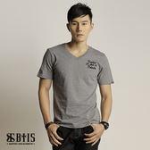 【BTIS】骷顱頭立體毛巾繡 V領T-shirt  / 麻灰色