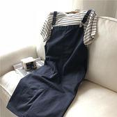 618好康鉅惠韓范純色減齡學院風復古簡約口袋背帶裙女