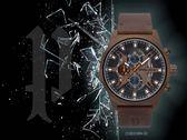 【時間道】POLICE 都會型男三眼腕錶/黑面古銅金殼咖皮(15383JSBN-02)免運費
